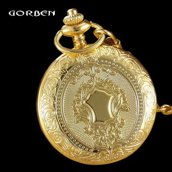 Luxury Round Case Quartz Gold Silver Pocket FOB Watch Chain Pendant Fashion Vintage Steampunk Relogio Lady Watches