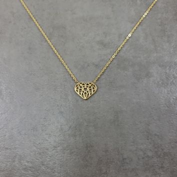 Gothic Heart Gold Necklace
