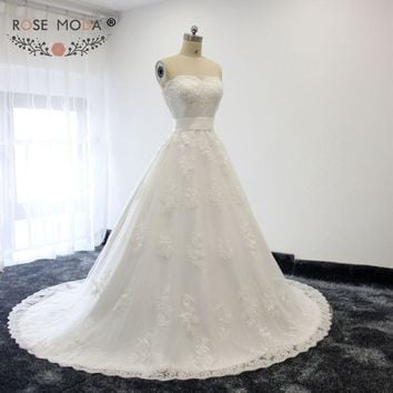 Rose Moda Actual Photo Elegant A Line Wedding Dress With Sweetheart Neckline And Beaded Lace Appliques