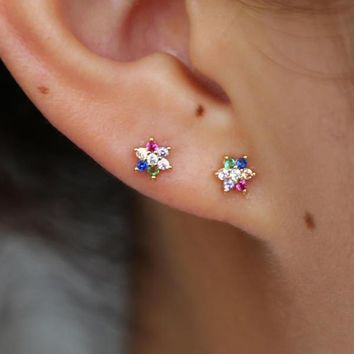 Colorful Flower Stud Earrings