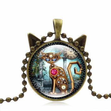 Cute Mechanical Cat Art Picture Pendant Statement Chain Necklace Cool Mechanical cat Necklace dropship Halloween 40