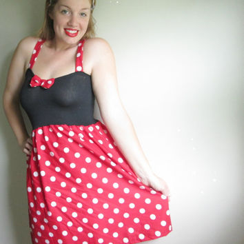 Minnie Mouse Polka Dot Disney Costume Dress Retro Disneyland Halloween Cute Bow Red