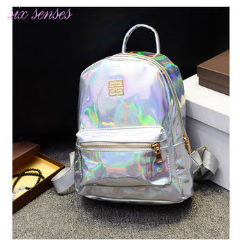New Arrival Hologram Laser Backpack Girl School Bag Women Rainbow Colorful Metallic Silver Laser Holographic Backpack,MF1619