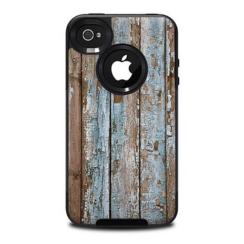 The Wood Planks with Peeled Blue Paint Skin for the iPhone 4-4s OtterBox Commuter Case