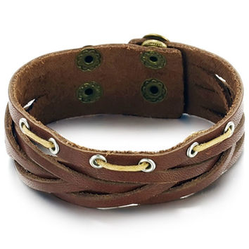 Men's Vintage Brown Leather Bracelet, Multilayered Woven Wrap Style