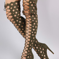 Suede Geo Cutout Over-The-Knee Stiletto Boots