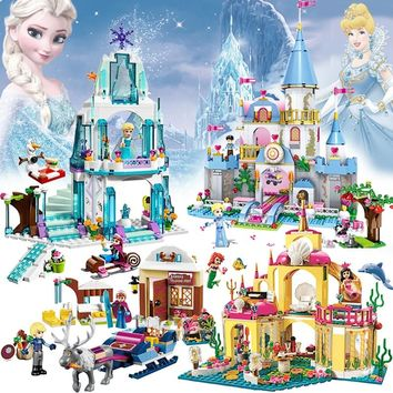 Friends LegoINGly Princess Girl Building Blocks Compatible Mermaid Undersea Palace Elsa House Ice Castle Pumpkin Carriage