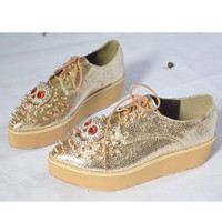 OASAP - Spike and Skull Embellished Lace up Creepers - Street Fashion Store