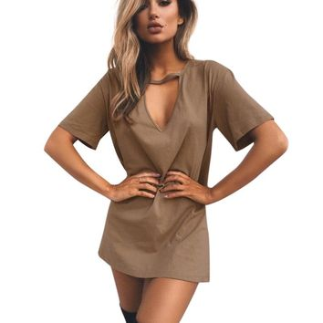 2019 Fashion Casual Dress for Women Sexy V Neck Cut out Solid Color Short Sleeve Loose Above Knee Length T-Shirt Mini Dress