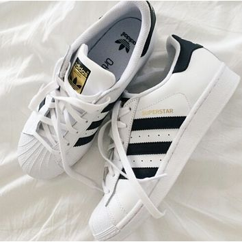 """Adidas"" Classic of Any Age Fashion White Shell-toe Flats Sneakers Sport Shoes F"