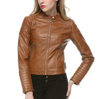 Fashion Women Elegant Zipper Faux Leather Biker Jacket in Brown Black Slim Ladies Coat Casual brand Motorcycle Leather Coat