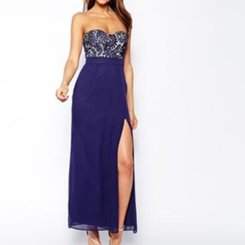 Elise Ryan Bandeau Maxi Dress with Thigh Split