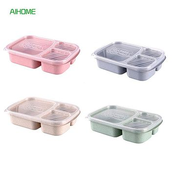 3 Section Wheat Straw Bento Box with Lid Microwavable Lunch Box Food Storage Container Dinnerware for Picnics Camping Travel