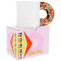 Donut Coffee Mug Novelty Cup With Sprinkle Doughnut Handle