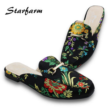 Original STARFARM T01 Satin Embroidery Backless Slip On Loafers Flat Shoes Mule Slippers with metal buckle pointed toe