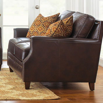 Steve Silver Caldwell Loveseat w/2 Accent Pillows in Walnut Leather