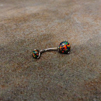 Fire Opal Belly Button Ring, Internally threaded Black Green Opal Naval Piercing Jewelry 316L Surgical Steel, Handmade Prong Set 14G 1.6mm
