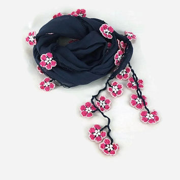 MOTHERS DAY Navy blue Scarf ,  Womens foulard , Cotton Bandana , Cowl with crochet oya flowers, Navy blue scarflette ,Summer scarf