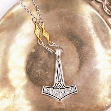 Thor Hammer Mjolnir Necklace with Lightning Bolts