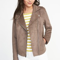 Sueded-Knit Moto Jacket for Women | Old Navy