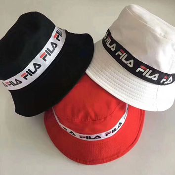 """Fila"" Unisex Casual Vintage Multicolor Letter Webbing Bucket Hat Fisherman Cap Couple Fashion Sun Hat"