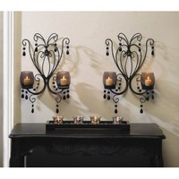 Black Elegant Wall Candle Sconce Pair