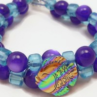 Fish Charm Bead Weave Purple and Aqua Two Strand Bracelet Petite Size