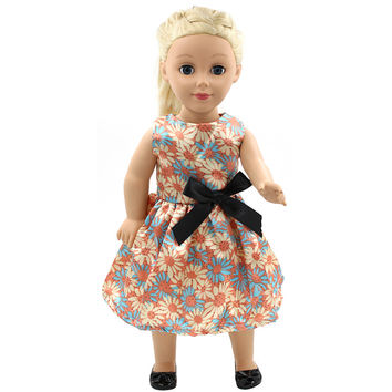 Handmade 15 Colors Dot Floral Princess Dress Doll Clothes for 18 inch Dolls American Girl
