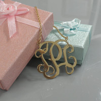 Gold Monogram Necklace - 1.75 inch Personalized Monogram - Sterling silver 18k gold plated Name Necklace Free Shipping