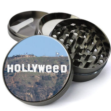 Hollyweed - Hollywood Sign Vandalized Extra Large 5 Piece Spice Tobacco Herb Grinder with Pollen/Keef Catcher