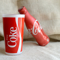 Vintage coke glass // 80's coke collectible glass //