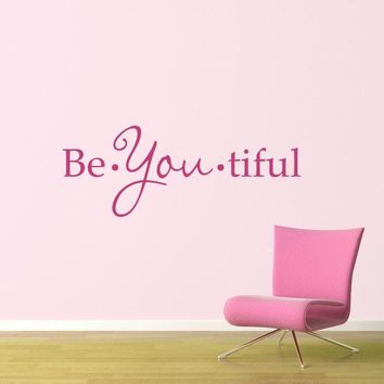 Beautiful Wall Decal - BeYoutiful Decal - Quote Wall Sticker - Girl Bedroom Decor