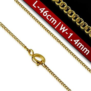 18 inch Fine Round Link 18k Gold Plated 316 Stainless Steel Necklace Chain