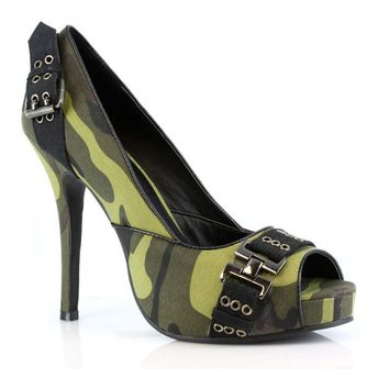 Women's 4 Inch Heel Open Toe Pump (6,Camouflage/Black)