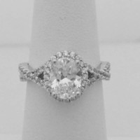 1.25 Carat Halo Oval CZ Engagement Ring on a Twisted Shank Ring Setting