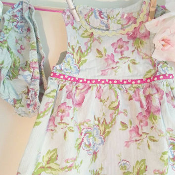 Floral Cotton Baby Smock Dress with Bloomers, children's vintage dress, gift for her, clothing for children, 12 months, vintage girls dress