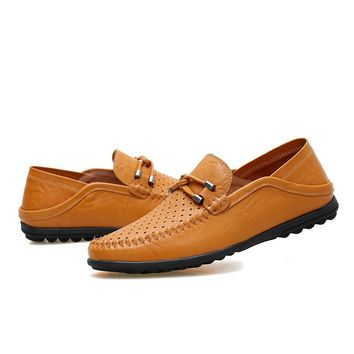 Men Mesh Leather Shoes Casual Loafers Driving Shoes