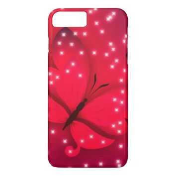 pretty red butterfly sparkled case