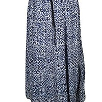 Mogul Interior Carissa Womens Bohemian Skirts Blue Tiered Gypsy Flirty Sexy Maxi Skirts