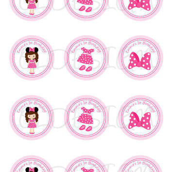 Minnie Mouse . 2 Inch Circles. Stickers, Cupcake Topper, Tags, great for birthday partys. Digital file. Custom
