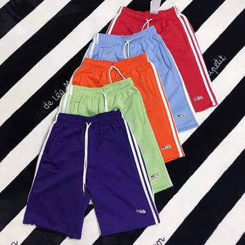 """Fila"" Unisex Casual Vintage Multicolor Stripe Webbing  Shorts Leisure Pants  Fifth Pants Couple Sweatpants"