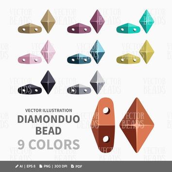 DiamonDuo Beads Clip-art Set - Beads Vector Illustration - ai, eps, pdf, png