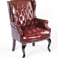 Boss Wingback Traditional Guest Chair, Burgundy