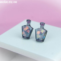 Kawaii Fairy Kei Pastel Goth Tiny Perfume Bottle Resin Stud Post Earrings in Translucent Grape or Pastel Purple