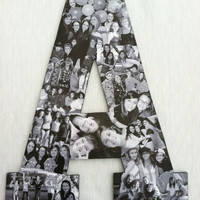 Custom Photo Collage letter, high school photo collage, Girlfriend gift - College dorm room decor