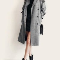 Grey Melange Double-Breasted Trench Coat