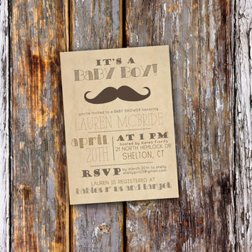Baby Shower Invitation - It's a Boy - Printable, Custom, DIY - RUSTIC, VINTAGE, Digital, Kraft, Mustache, Little Man, Shabby, Moustache