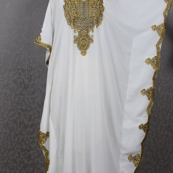 White Caftan Summer Maxi Kaftan Dress Maxi Party Moroccan Caftan Batwing Dubai Gold Embroidery Caftan Women's Caftan