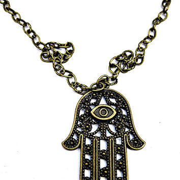 Unisex Bronze Evil Eye Hamsa Hand Hollow Customizable Choker Necklace Earrings