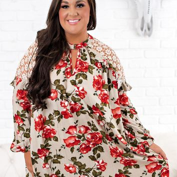 Curvy Picnic For Two Floral Dress (Taupe)